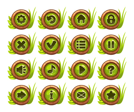 jungle cartoon: Cartoon buttons menu set with green middle and grass decoration, isolated on white