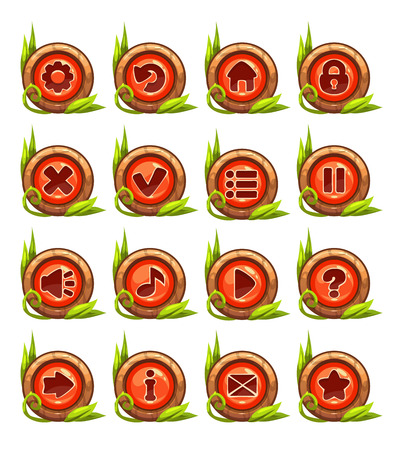 menu buttons: Cartoon buttons menu set with red middle and floral decoration, isolated on white Illustration
