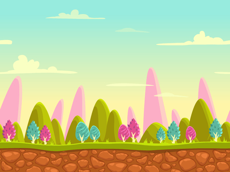Fantasy cartoon landscape, seamless nature background for game design, layered vector illustration for parallax effect Vettoriali