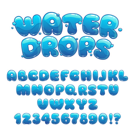 Cartoon water drops font, funny blue alphabet, vector water letters and numbers