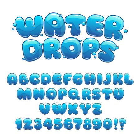 Gotas de agua de la historieta de la fuente, divertido azul alfabeto, las letras y los números de agua de vectores