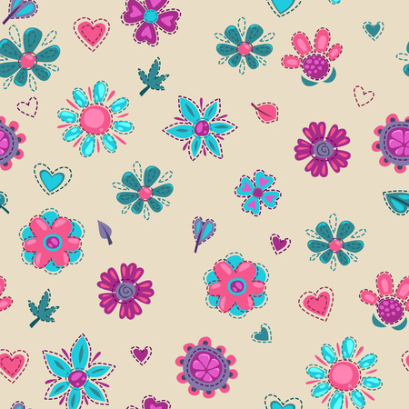 beautiful flowers: Seamless floral pattern with patch flowers and leaves, vector texture