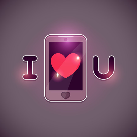 i love u: I love u inscription with smartphone icon, vector illustration Illustration