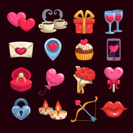 Cartoon love and passion icons, vector stickers for Valentine's Day items design Vettoriali