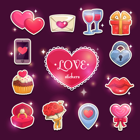Pink lips: Beautiful love and passion stickers, shiny icons for Valentines Day, vector elements