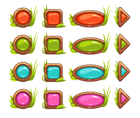 with sets of elements: Cartoon buttons with colorful middle and grass decoration, vector GUI set, isolated on white