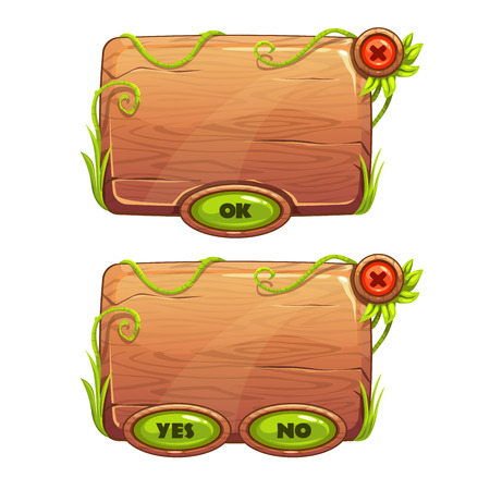 game: Funny cartoon game panels in jungle style, wooden gui elements, vector isolated games assets