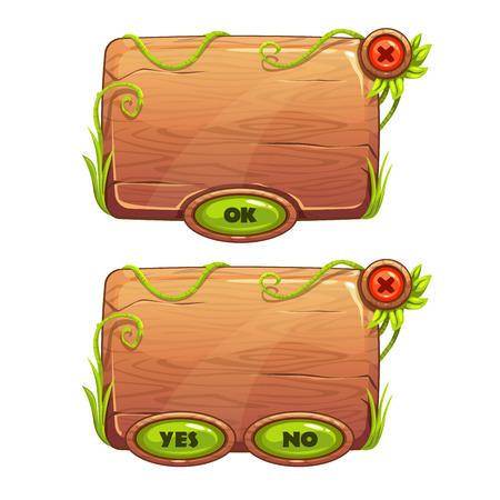 selva caricatura: paneles de dibujos animados divertido juego en el estilo de la selva, elementos de la GUI de madera, aislado vector activos juegos
