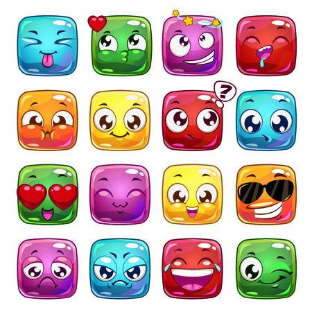 emoticons: Funny cartoon square jelly characters, vector emoticon icons, isolated on white