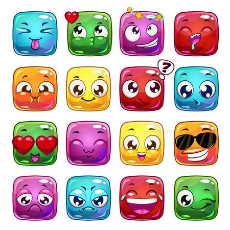 divertido: personajes de dibujos animados divertidos jalea cuadrada, iconos del vector emoticon, aislado en blanco