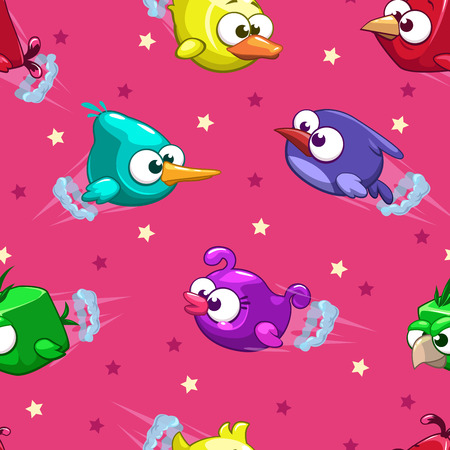 bird flying: Seamless pattern with funny cartoon comic flying birds and stars on pink background, vector illustration