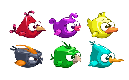 baby duck: Funny cartoon crazy birds set, vector game elements, isolated on white Illustration