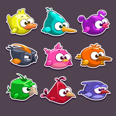 Funny cartoon birds stickers, vector game elements Vettoriali