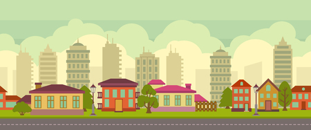 city landscape: Seamless city landscape in flat style, horizontal vector illustration Illustration
