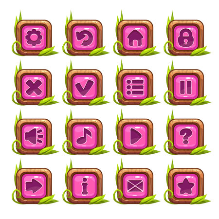 square buttons: Cartoon square buttons menu set with pink middle and grass decoration, isolated on white Illustration