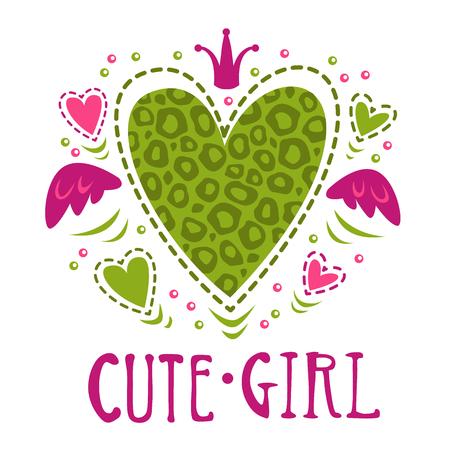 t shirt print: Cute girlish vector illustration, funny girls print for t shirt design