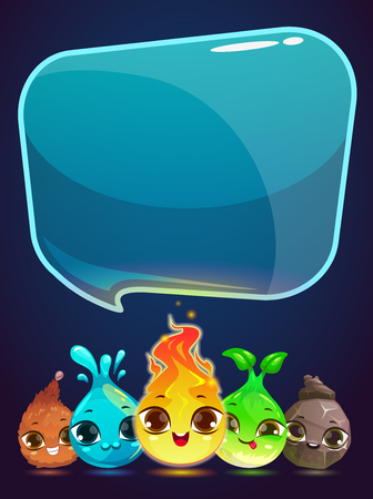 for example: Vertical vector banner with little cute monsters and speech bubble, vector illustration