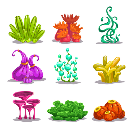 arboles caricatura: plantas vector de fantasía de colores divertidos, aislados en blanco