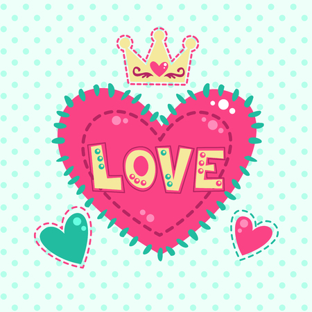 girlish: Cute girlish fashion illustration with hearts and crown, vector template for girls t shirt print design Illustration