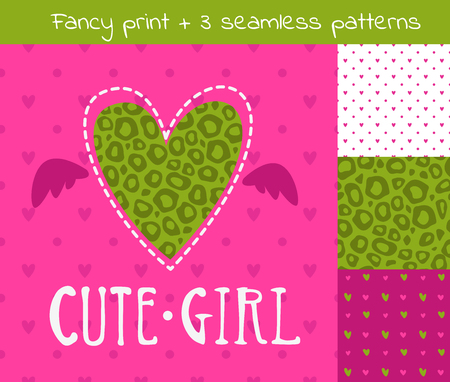 kit de costura: Fantasía conjunto de vectores de niña incluyendo impresión y tres patrones sin fisuras, elementos para el diseño lindo camiseta de las muchachas
