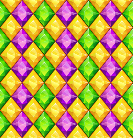 gemstones: Funny bright colorful texture with green, purple and yellow diamonds, vector seamless pattern for Mardi Gras items design