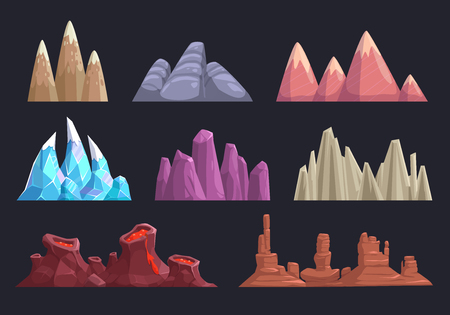 cartoon landscape: Cartoon rocks and mountains set, landscape nature elements for game location design