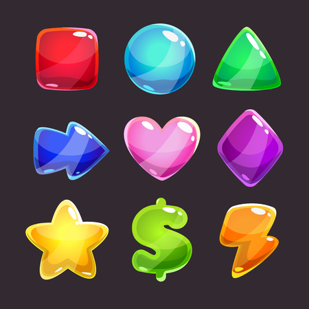 xp: Colorful glossy shapes icons set on dark background, isolated vector game assets Illustration