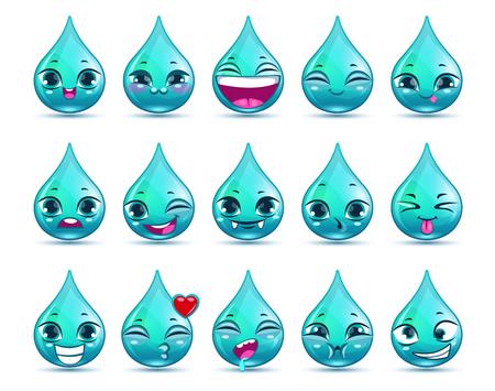 Grappige cartoon druppel water karakter met verschillende emoties, vector iconen