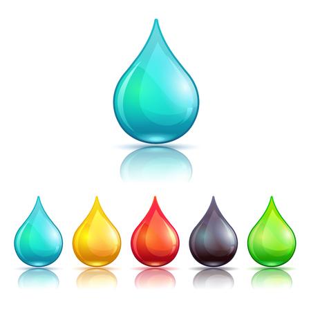 gota: líquido colorido de dibujos animados gotas conjunto, aislado en blanco Vectores