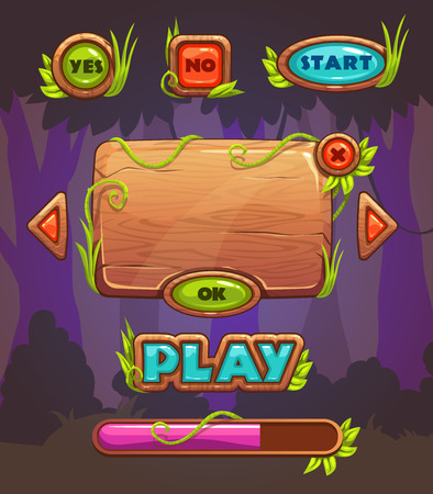 Cartoon wooden game user interface, vector assets for mobile games UI design on forest background