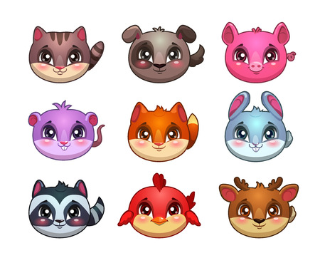 assets: Funny cartoon little cute animals faces, bubble items for game design, vector gui assets