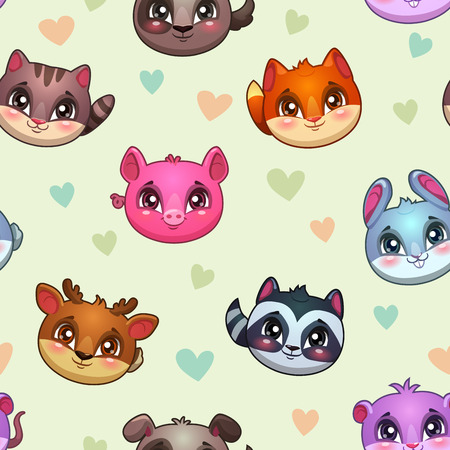 kitty cat: Funny vector texture with cute animal faces and hearts, endless childish background