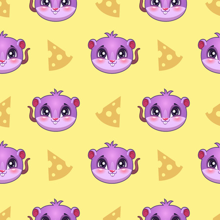 shapes cartoon: Seamless pattern with funny mouse faces and cheese slices, vector texture