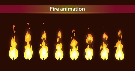 games: Fire animation sprites, vector flame video frames for game design