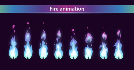 Blue fire animation sprites, vector flame video frames for game design