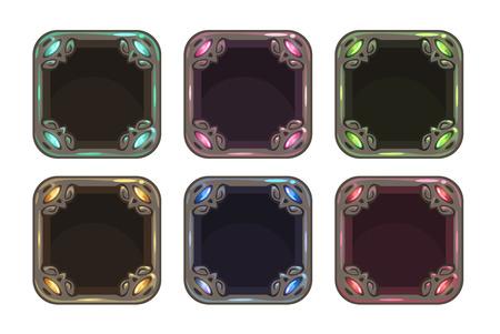 Cartoon square frames set, vector colorful gui assets 向量圖像