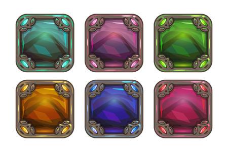 gui: Cartoon app icon backgrounds set, vector colorful gui assets