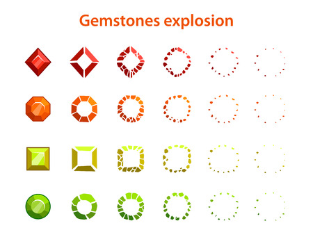 gemstones: Cartoon colorful gemstones explosion frames, sprites for animation