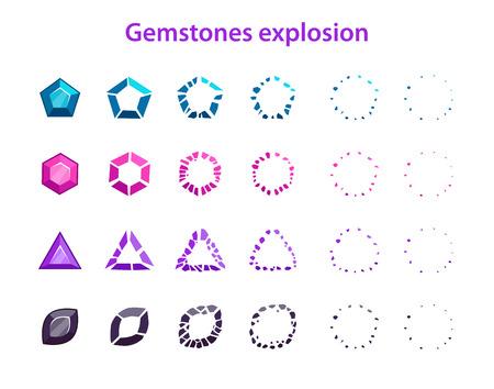 Cartoon colorful gemstones explosion frames, sprites for animation
