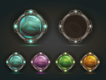 epic: Beautiful vector magic shiny round buttons on dark background, gui assets with colorful middles