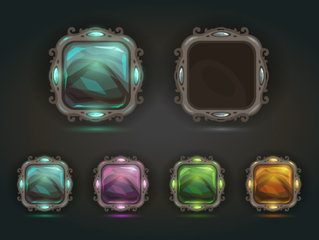 Beautiful vector magic shiny square buttons on dark background, gui assets with colorful middles