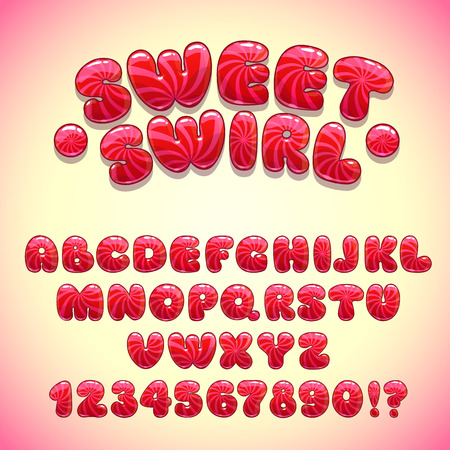 Funny sweet font, vector red candy alphabet and numbers