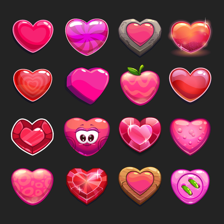 Cartoon vector heart icons set, cool game assets collection for gui design