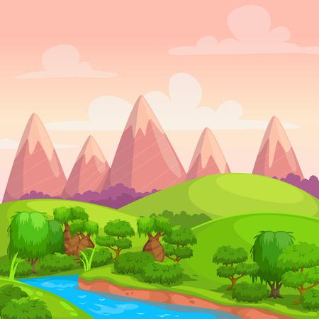 bucle: Lindo vector brillante día soleado paisaje, la naturaleza de fondo de dibujos animados