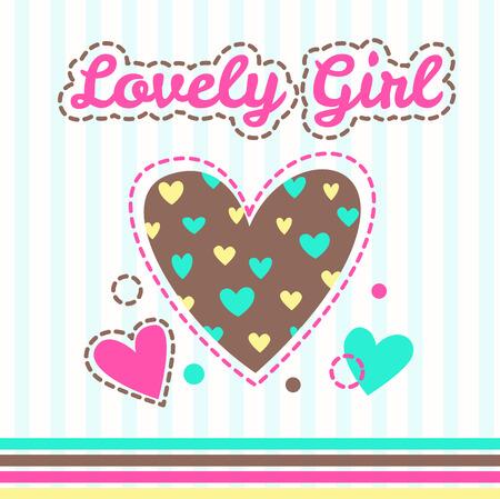 girlish: Cute girlish illustration with hearts for textile design Illustration