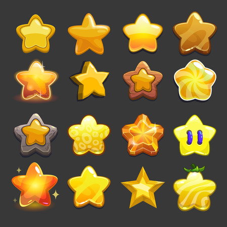 Cartoon vector star icons set, cool game assets collection for gui design