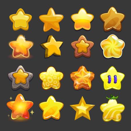 iconos de la estrella del vector conjunto de dibujos animados, colección fresca de recursos del juego para el diseño de interfaz gráfica de usuario