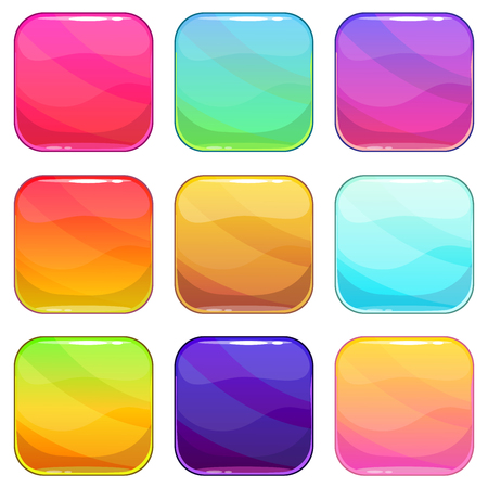Rounded square app icons template set, colorful vector glossy buttons, isolated on white