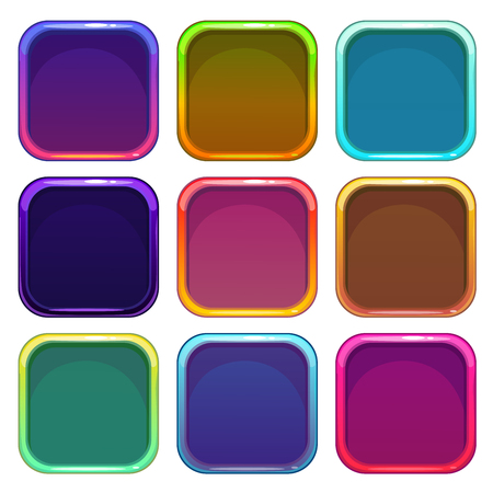 app banner: Rounded square app icon frames set, colorful vector templates, isolated on white