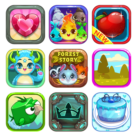 Set of funny cool app store game icons on white background, game elements,vector illustration